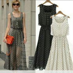 Chiffon Polka Dot Maxi Dress NWOT* black/white polka dot Maxi dress. Size is XXL but runs small will fit a size Medium. Dresses Maxi