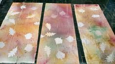 Fall banners for worship - uses liquid water colours. The drop cloth was cut into three pieces.