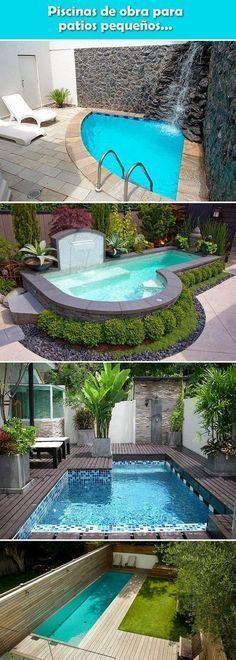 Piscinas de obra para patios pequeños. Piscinas pequeñas. Piscinas de material. Piscinas de obra. #casasmodernasalberca