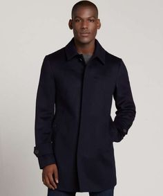 Navy Wool Three Quarter Overcoat