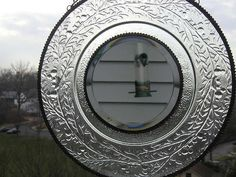 Stained Glass Mirror  Vintage Plate