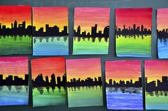 on color gradations Silhouettes on color gradient. Good introductory wet-on-wet blending lesson.Silhouettes on color gradient. Good introductory wet-on-wet blending lesson. Classroom Art Projects, School Art Projects, Art Classroom, Clay Projects, 6th Grade Art, 3rd Grade Art Lesson, Ecole Art, Art Lessons Elementary, Elements Of Art