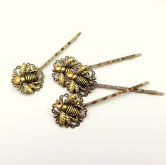 Set of Two Honey Bee Bobby Pins by Steampunkitis on Etsy