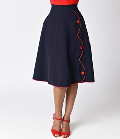 1950sSkirtStyles038History Steady Navy Blue High Waist Button Parade Skirt $72.00 AT vintagedancer.com