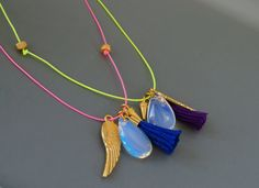 Neon Pink Necklace  Long Tribal Necklace w/ Gold Hex Nuts , Tassel , Moonstone , Wing & Spike