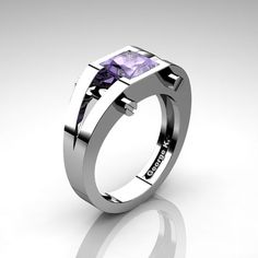 Modern 14K White Gold 1.25 Ct Princess Tanzanite by artmasters