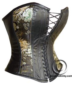 A corset in black leather and Chinese silk