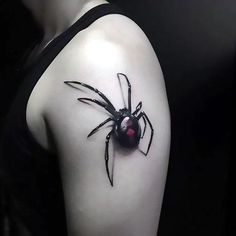 3D black widow on the shoulder. Style: Realistic. Color: Black. Tags: Best, 3D, Amazing, Awesome