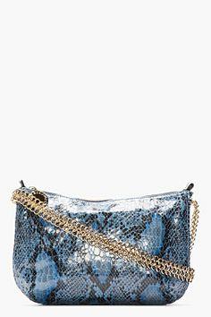 Stella McCartney Blue Python Bailey Boo Cross-body Bag for women | SSENSE