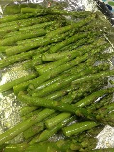 Super Simple Asparagus - tossed with olive oil and garlic salt and baked in oven at 350 degrees for 20 min.