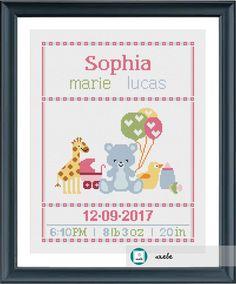 Baby Cross Stitch Patterns, Cross Stitch Baby, Cross Stitch Flowers, Cross Stitch Designs, Baby Embroidery, Cross Stitch Embroidery, Crochet Baby Mobiles, Baby Birth, Le Point
