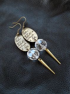 Statement+spike+earrings+antique+brass+tone+by+LogicFreeDesign,+$17.00