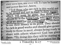 1 Timothy 6:17 - More Bible verse images to pin at www.versifylife.com
