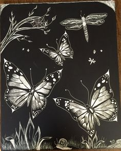 8x10 scratchboard. Butterflies. 2012. #scratchboard #scratchboardart #scratchboardartist #ampersand  #tattoocomposition #scratchart #art #artwork #custom #blackandwhite #crosshatch #artistsofpinterest #sketch #layers #draw #drawing #create #creative #illustrate #butterfly