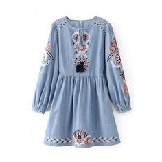 Fashion Floral Embroidery Round Neck Long Sleeve Mini A-Line Dress (685 EGP) ❤ liked on Polyvore featuring dresses, blue a line dress, long cotton dresses, long sleeve a line dress, long sleeve short dress and short dresses