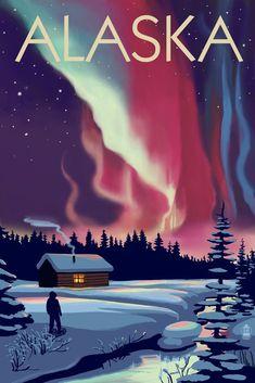 Print (Alaska - Northern Lights & Cabin - Lantern Press Artwork) - What is the Aurora Borealis? City Poster, Poster Art, Poster Prints, Art Prints, Posters Wall, Posters Decor, Aurora Borealis, Travel Sticker, Alaska Northern Lights