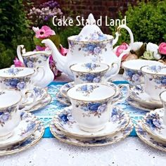 Royal Albert Moonlight Rose tea set with large by CakeStandLand