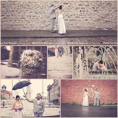 Séance photo mariage. Sous la pluie. À la fontaine. Vieux Montréal. Photo urbaine. Wedding photoshoot. Rainy wedding. Fountain. Old Montreal. Urban photography.