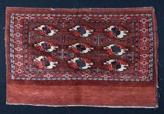 Antique Turkmen Yomud Chuval 1880s 3.9 x 2.5 by SOrugsandtextiles