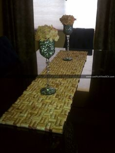 Wine Cork Table Runner - doubles as a trivet!! Looks AMAZING!!