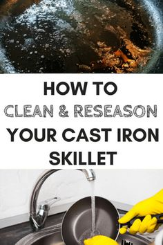 How to clean cast iron skillet? Clean your cast iron skillet in SECONDS with this simple tip. See how to easily clean a cast iron skillet and never have to scrub again. Cleaning Oven Racks, Cleaning Fun, Cleaning Mold, Diy Cleaning Products, Iron Skillet Cleaning, Cast Iron Skillet, Clean Black Mold, Clean Clean, Invisible Glass