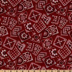 Best Bandanas Square Red from @fabricdotcom  Designed by Kensington Studio for VIP for Cranston, this cotton print fabric is perfect for quilts, home décor accents, craft projects and apparel. Colors include red, black and white.
