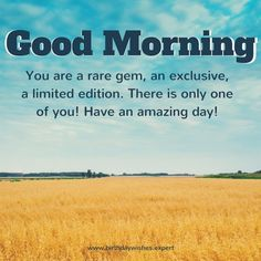 Good Morning. You are a rare gem, an exclusive, a limited edition. There is only one of you! Have an amazing day!
