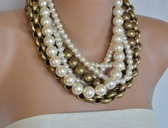 Vintage inspired Chunky Layered Pearl Necklace. $104.00, via Etsy.  / oh this etsy shop is faaaaabulous.
