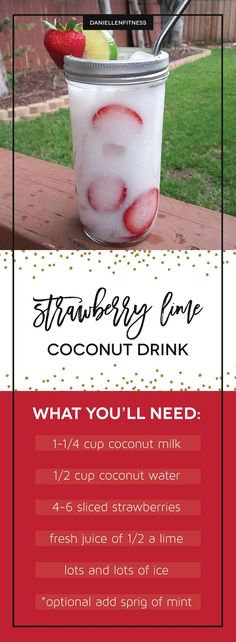 Thirsty?! Try this amazing and refreshing coconut drink with a sweetness of strawberry and a touch of lime! Inspired by starbucks strawberry coconut refresher. This one will be healthier and cheaper made right at home! Sip up and share! // drink recipe // healthy drink // strawberry refresher // coconut refresher // lime refresher // strawberry drink // coconut milk recipe // coconut water