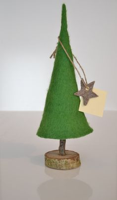 Green Christmas Felted Tree Design by UrsulaShop on Etsy