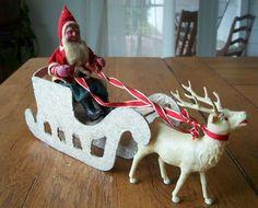 Vintage Paper Mache Santa With Sleigh And Reindeer Christmas