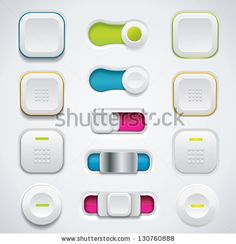 Modern Ui Button Set Including Switches And Push Buttons In Different Design Variations Stock Vector 130760888 : Shutterstock