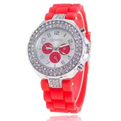 Fashion Silicone GENEVA Watch Crystal Silicone Jelly Watches Watched Women Rhinestone Watch Relogio Feminino BW1000