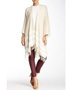 Open Front Striped Cape at Nordstrom Rack - Womens Wraps & Poncho Sweaters - Womens Sweaters