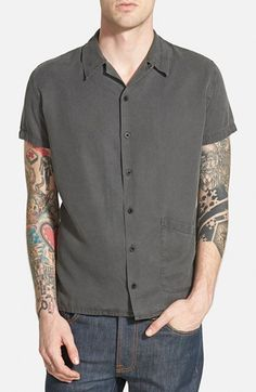 Men's Nudie Jeans 'Byron' Trim Fit Short Sleeve Bowling Shirt