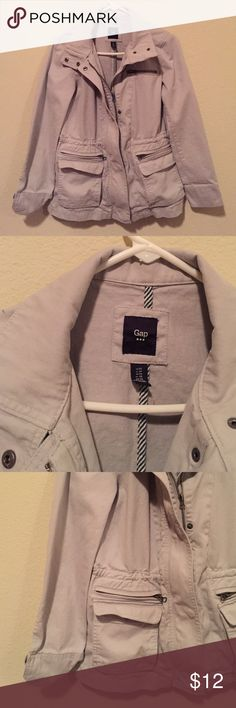 Gap Gray Utility Jacket Light gray utility jacket from GAP. Reaches to the upper thigh. One small black mark on the back (pictured), barely noticeable. Gently worn. Size XS. Great for fall/winter style. GAP Jackets & Coats Utility Jackets