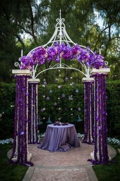 I like the floating flowers behind the arch - would look very pretty behind a simpler arbor.
