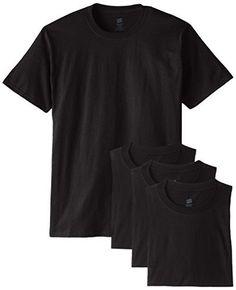 Hanes Men's ComfortSoft T-Shirt (Pack of 4), Black, Medium
