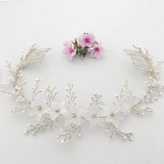 crystal flower wedding hair comb vine