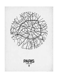 Naxart 'Paris Street Map' Framed Graphic Art Print on Canvas in White Size: Map Logo, Art Carte, Poster Online, Paris Map, Framed Maps, Inspirational Wall Art, Design Graphique, Map Design, Grafik Design