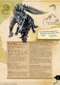 Leviathan storm variant Dungeons and dragons by RavenVonBloodimir on DeviantArt Dnd Dragons, Dungeons And Dragons 5e, Dungeons And Dragons Homebrew, Dark Dungeons, Mythological Creatures, Fantasy Creatures, Mythical Creatures, Skyrim, Dnd Stats