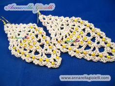 "Tutorial FREE orecchini ""leaf"" a forma di foglia. Crochet earrings."