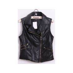 Black Notch Lapel Biker PU Leather Zip Vest ($36) via Polyvore