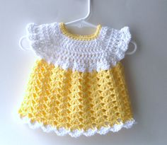 Crochet Baby Dress, Yellow and White Crocheted Baby/Infant Dress 0-3 months