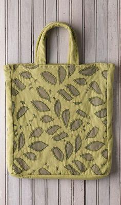 Alabama Chanin leaf embroidery tote bag in green.
