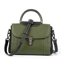 5cb1418c97f2f Green Genuine Leather Saddle Handbag Tragetaschen