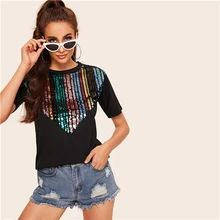 ROMWE Black Contrast Sequin Tee Women Summer 2019 Round Neck Short Sleeve Clothing Ladies Casual T-shirt Tops Streetwear. Top Streetwear, Pullover Mode, Summer Blouses, T Shirts For Women, Clothes For Women, Casual T Shirts, Striped Tee, Sweater Fashion, Boho Outfits