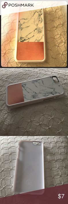 iPhone 6 faux marble case NWOT plastic white iPhone 6 slip on case. Copper colored finish on the bottom, black and white marble print on top. Very stylish! Great stocking stuffer  Accessories Phone Cases