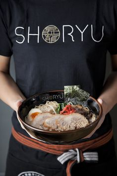Printed Workwear for UK restaurant chain SHORYU ramen. Printing not only T-shirts but also hoodies, long-sleeved shirts, embroidered fleeces and vinyl caps. All the Printed Workwear a restaurant would need! Food Menu Design, Food Poster Design, Tofu Dishes, Side Dishes, Japanese Restaurant Design, Sushi, Ramen Restaurant, Restaurant Ideas, Noodle Bar
