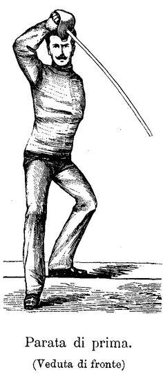 Parry in Prime - Masaniello Parise from Trattato Teorico-pratico della Spada di Scherma e Sciabola, 1884